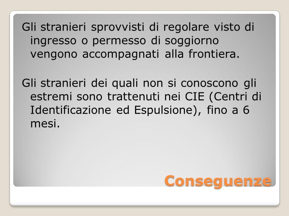 Conseguenze Gli stranieri sprovvisti di regolare visto di ingresso o permesso di soggiorno vengono accompagnati alla frontiera. Gli stranieri dei qual