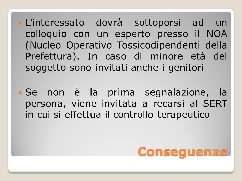 Conseguenze Linteressato dovrà sottoporsi ad un colloquio con un esperto presso il NOA (Nucleo Operativo Tossicodipendenti della Prefettura). In caso