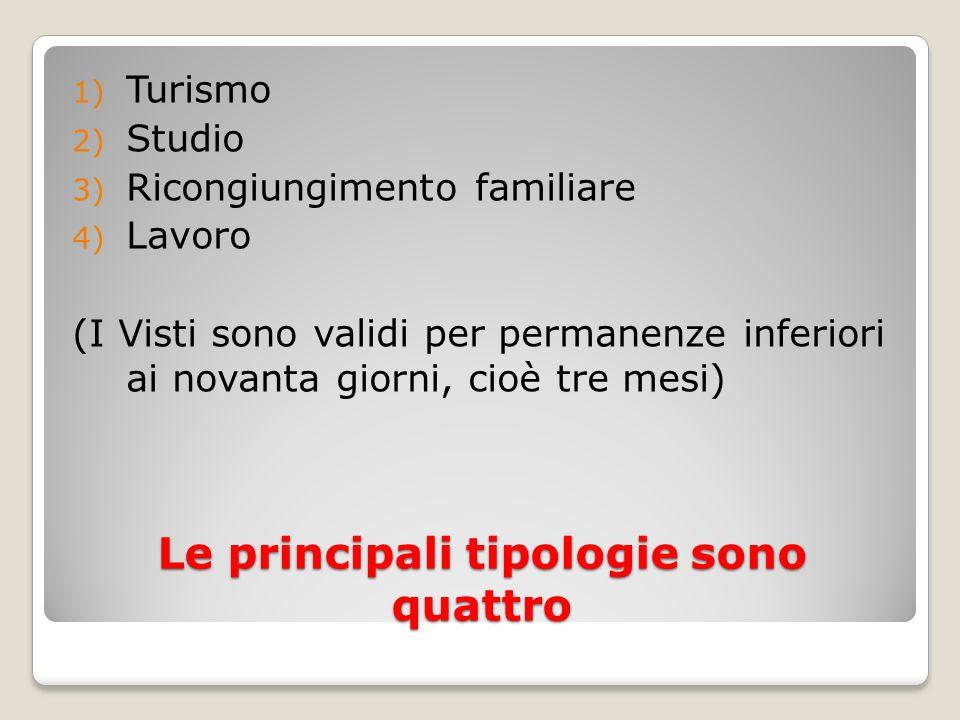 Le principali tipologie sono quattro 1) Turismo 2) Studio 3) Ricongiungimento familiare 4) Lavoro (I Visti sono validi per permanenze inferiori ai nov