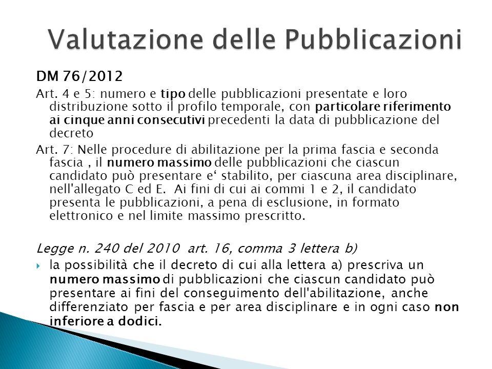 DM 76/2012 Art. 4 e 5: numero e tipo delle pubblicazioni presentate e loro distribuzione sotto il profilo temporale, con particolare riferimento ai ci