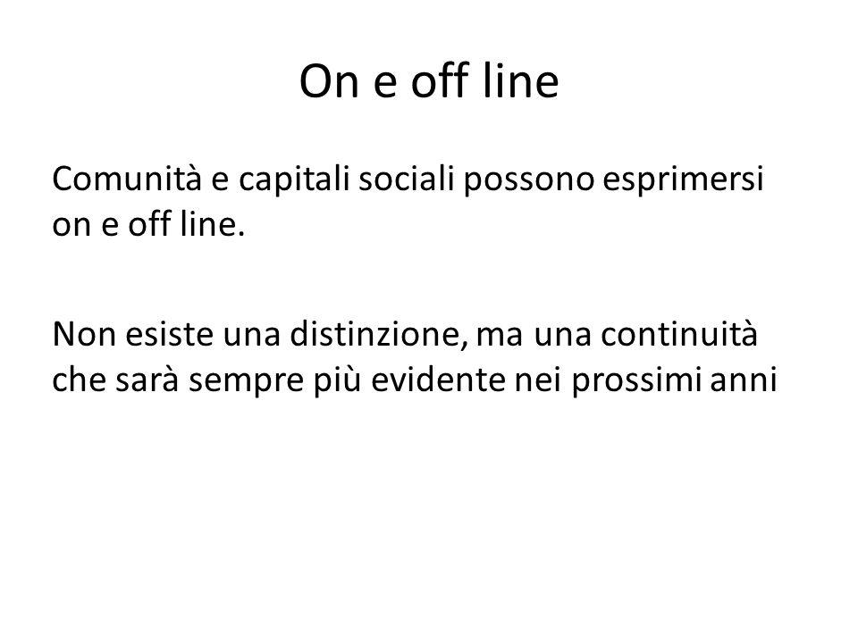 On e off line Comunità e capitali sociali possono esprimersi on e off line. Non esiste una distinzione, ma una continuità che sarà sempre più evidente