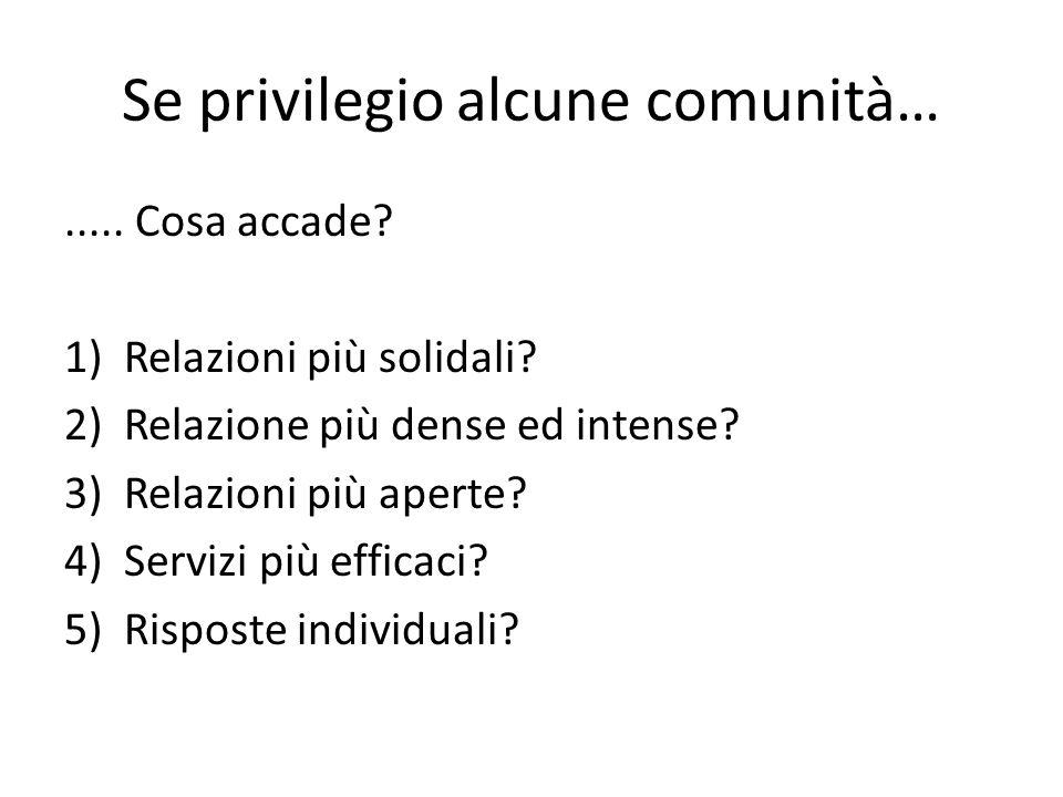 Se privilegio alcune comunità…..... Cosa accade? 1)Relazioni più solidali? 2)Relazione più dense ed intense? 3)Relazioni più aperte? 4)Servizi più eff