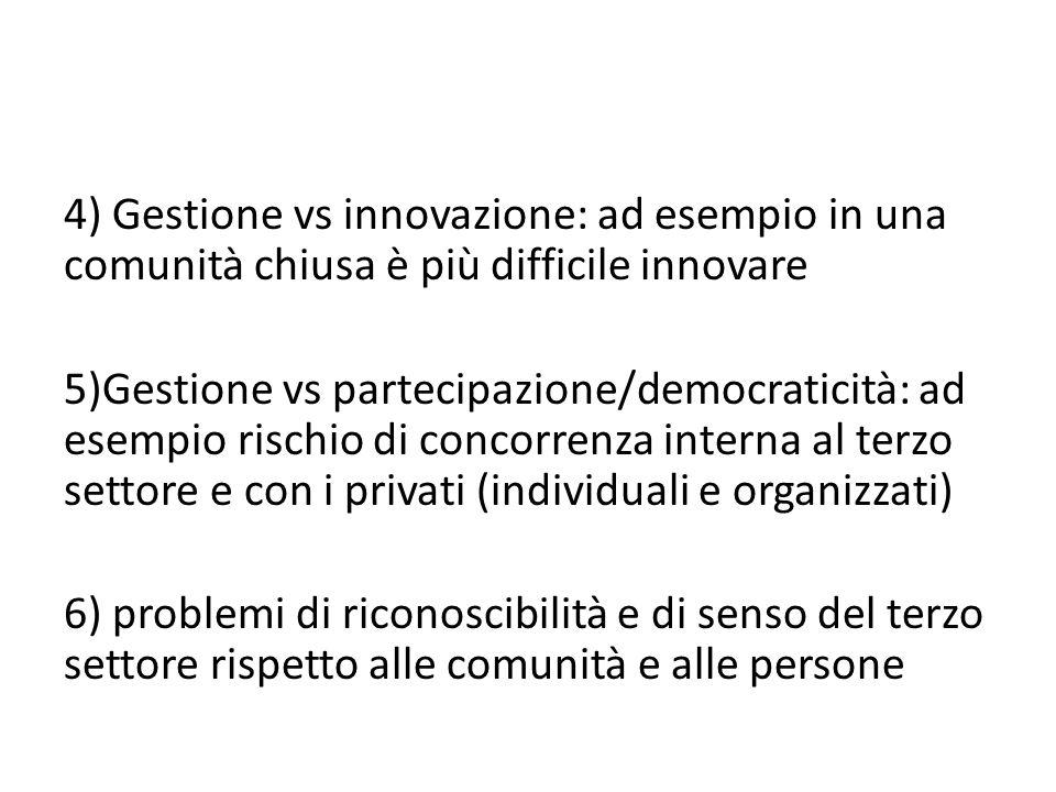 4) Gestione vs innovazione: ad esempio in una comunità chiusa è più difficile innovare 5)Gestione vs partecipazione/democraticità: ad esempio rischio di concorrenza interna al terzo settore e con i privati (individuali e organizzati) 6) problemi di riconoscibilità e di senso del terzo settore rispetto alle comunità e alle persone