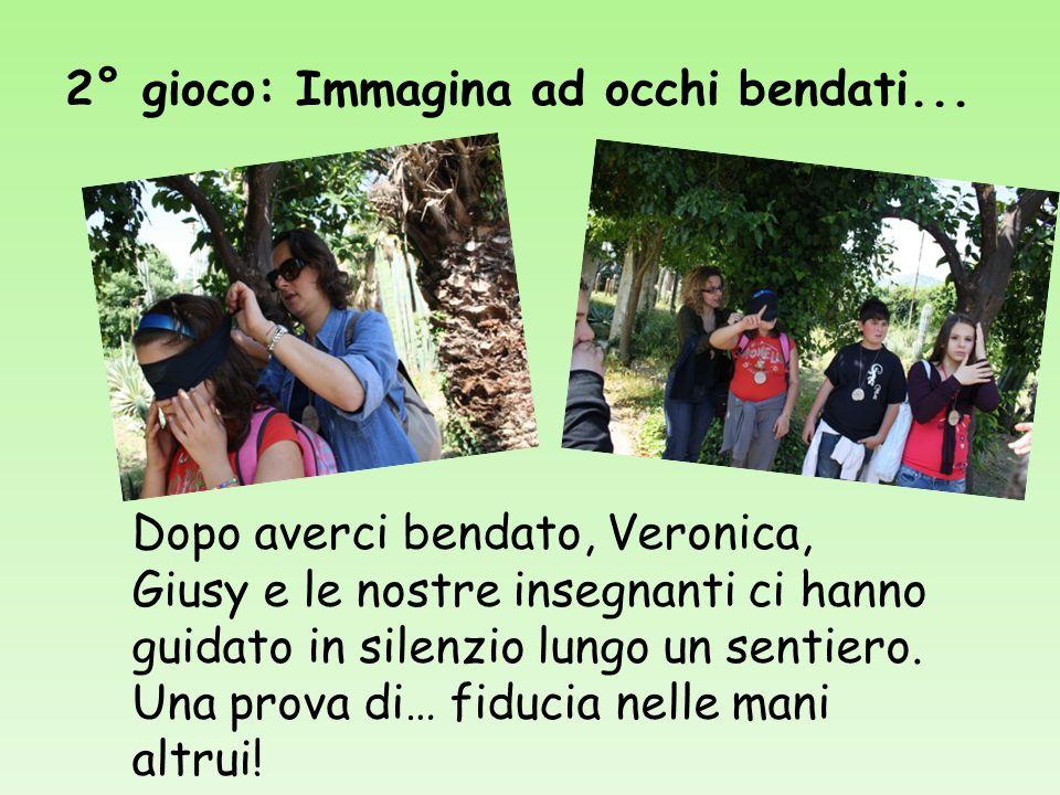 2° gioco: Immagina ad occhi bendati... Dopo averci bendato, Veronica, Giusy e le nostre insegnanti ci hanno guidato in silenzio lungo un sentiero. Una