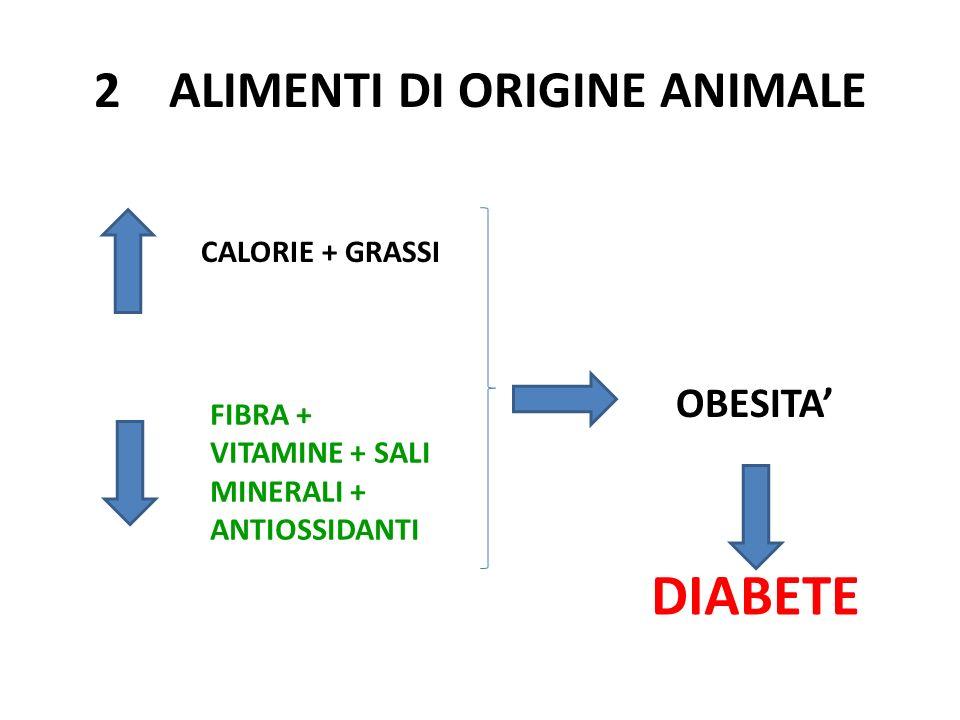 2 ALIMENTI DI ORIGINE ANIMALE CALORIE + GRASSI FIBRA + VITAMINE + SALI MINERALI + ANTIOSSIDANTI OBESITA DIABETE