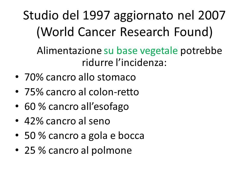 Studio del 1997 aggiornato nel 2007 (World Cancer Research Found) Alimentazione su base vegetale potrebbe ridurre lincidenza: 70% cancro allo stomaco