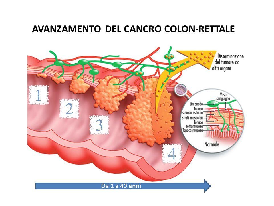 AVANZAMENTO DEL CANCRO COLON-RETTALE Da 1 a 40 anni