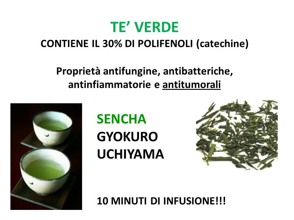 TE VERDE CONTIENE IL 30% DI POLIFENOLI (catechine) Proprietà antifungine, antibatteriche, antinfiammatorie e antitumorali SENCHA GYOKURO UCHIYAMA 10 M