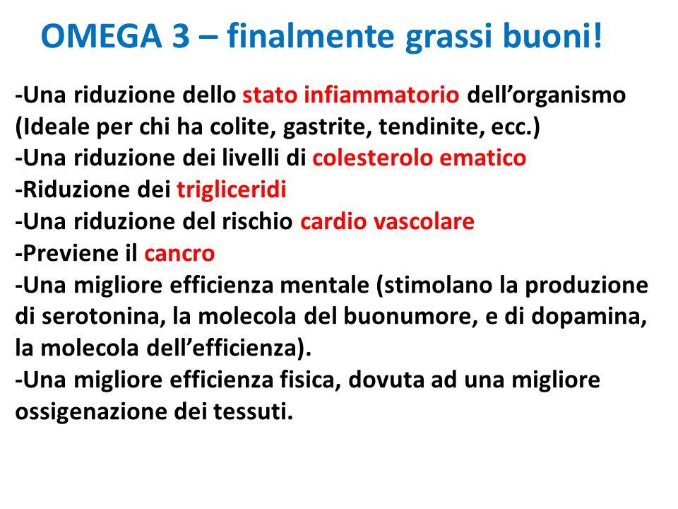OMEGA 3 – finalmente grassi buoni! -Una riduzione dello stato infiammatorio dellorganismo (Ideale per chi ha colite, gastrite, tendinite, ecc.) -Una r