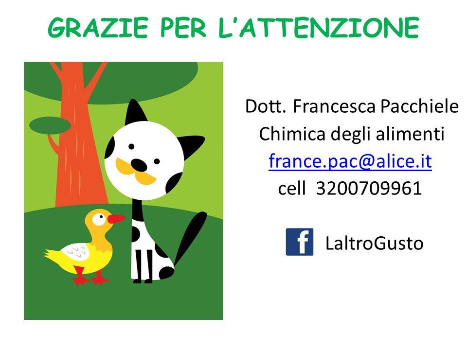 GRAZIE PER LATTENZIONE Dott. Francesca Pacchiele Chimica degli alimenti france.pac@alice.it cell 3200709961 LaltroGusto