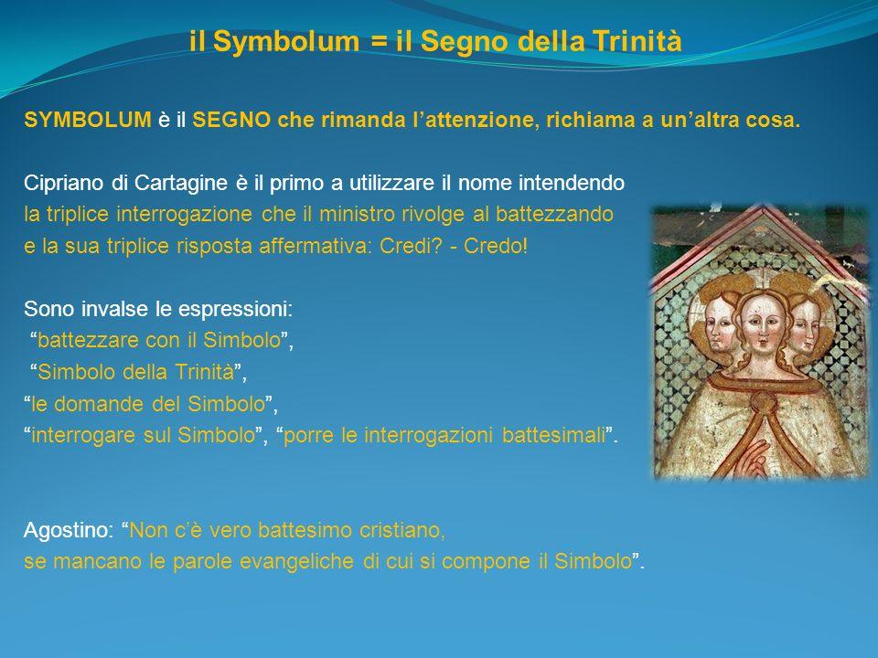 il Symbolum = il Segno della Trinità SYMBOLUM è il SEGNO che rimanda lattenzione, richiama a unaltra cosa. Cipriano di Cartagine è il primo a utilizza