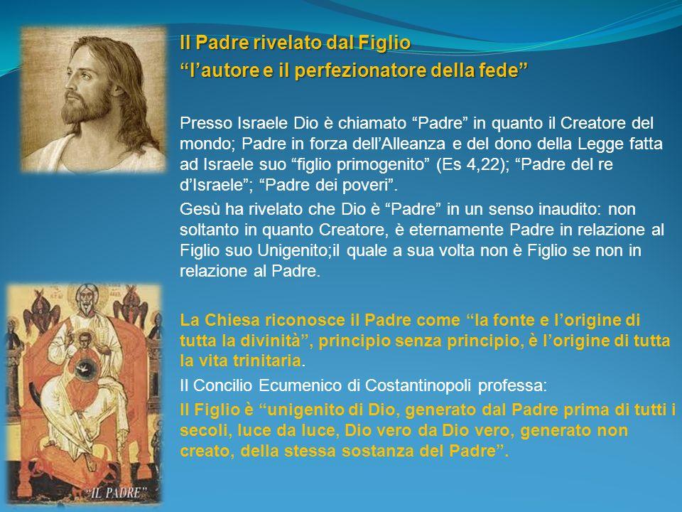 Il Padre rivelato dal Figlio lautore e il perfezionatore della fede Presso Israele Dio è chiamato Padre in quanto il Creatore del mondo; Padre in forz