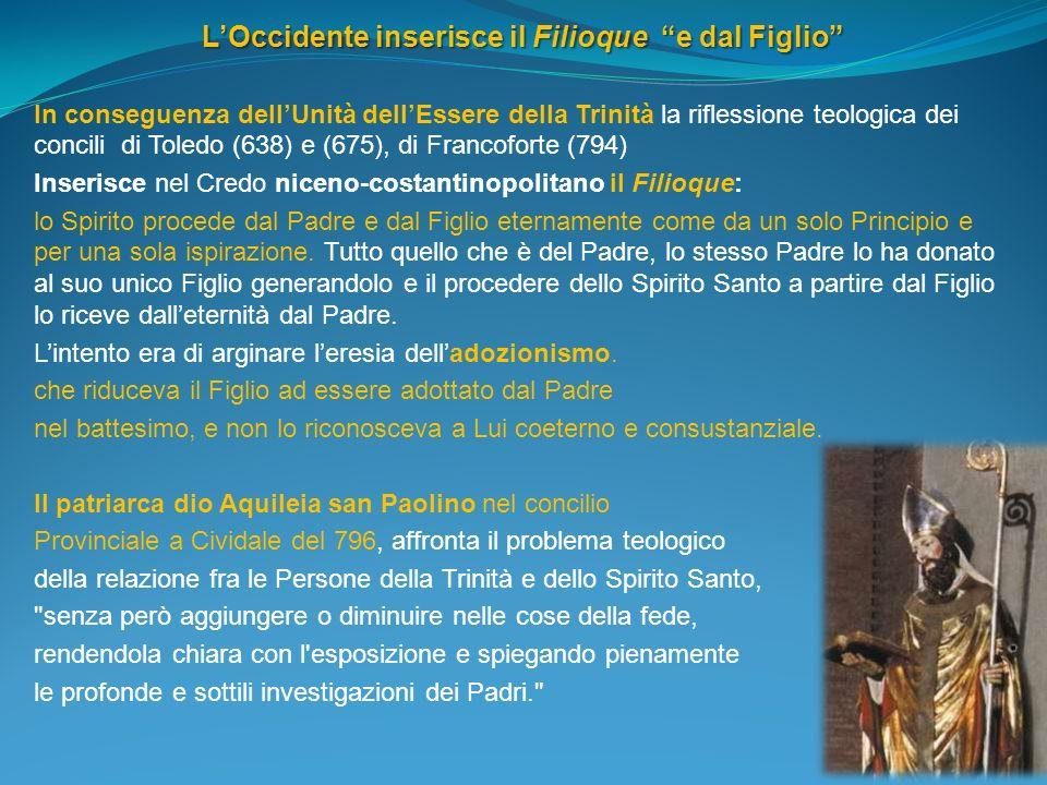 LOccidente inserisce il Filioque e dal Figlio In conseguenza dellUnità dellEssere della Trinità la riflessione teologica dei concili di Toledo (638) e
