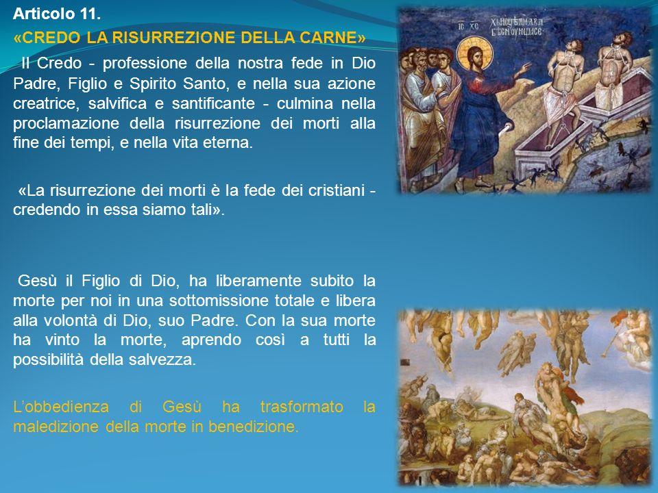 Articolo 11. «CREDO LA RISURREZIONE DELLA CARNE» Il Credo - professione della nostra fede in Dio Padre, Figlio e Spirito Santo, e nella sua azione cre
