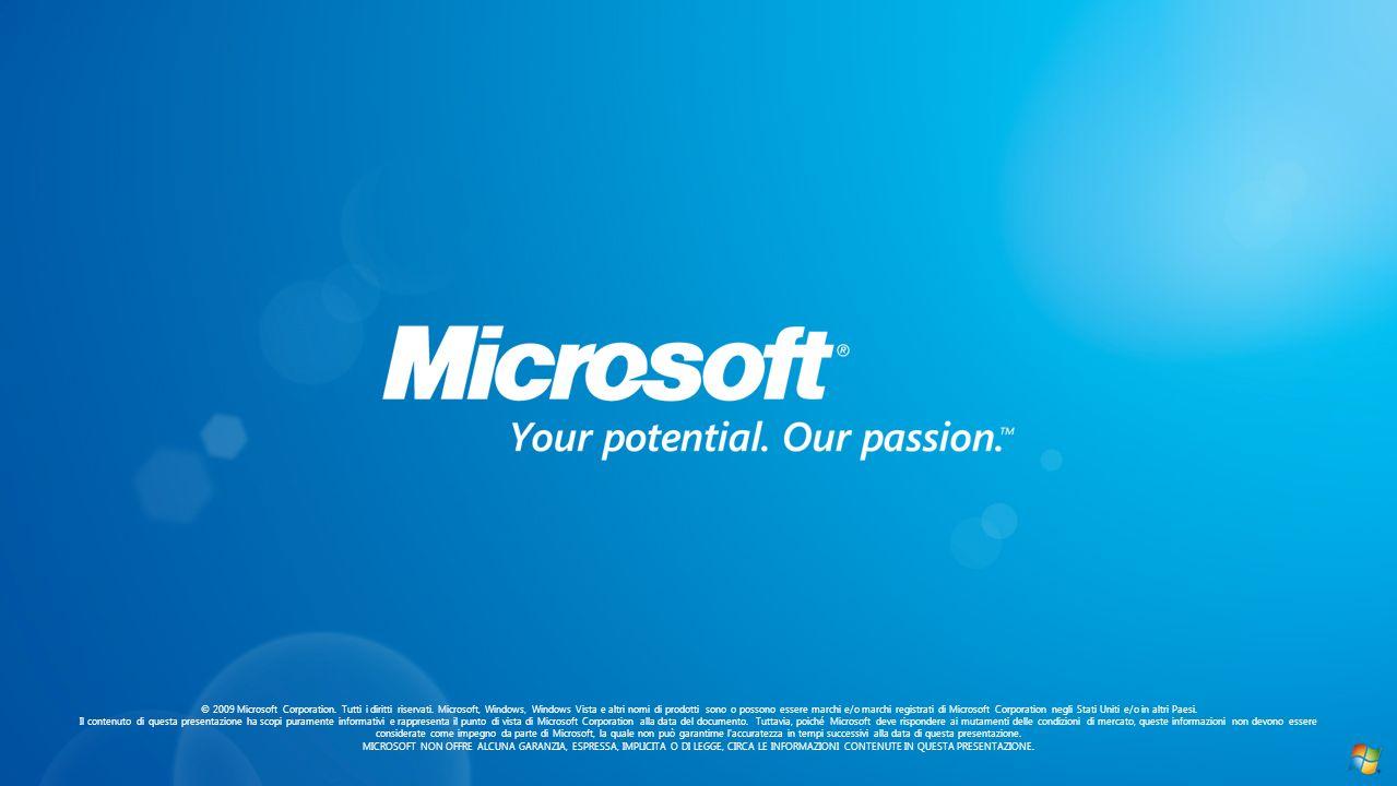 © 2009 Microsoft Corporation. Tutti i diritti riservati. Microsoft, Windows, Windows Vista e altri nomi di prodotti sono o possono essere marchi e/o m