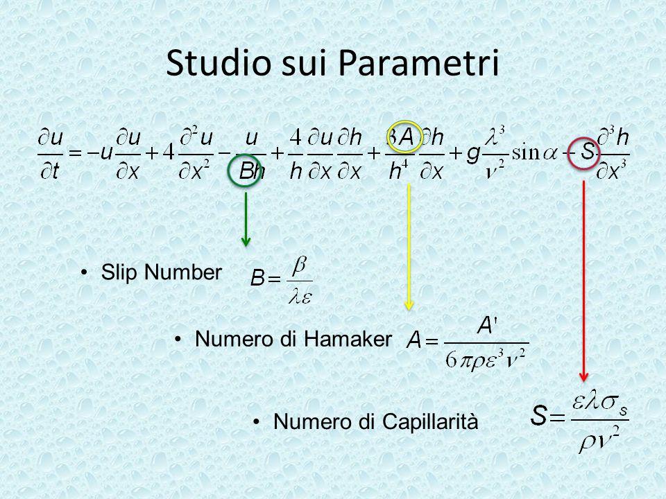 Studio sui Parametri Slip Number Numero di Hamaker Numero di Capillarità