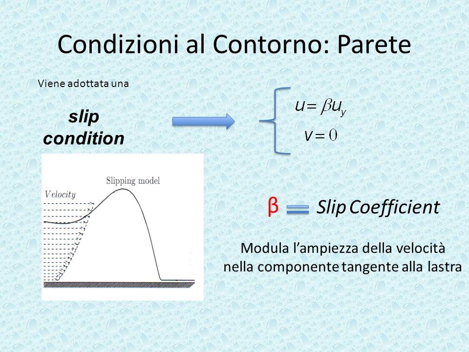 Condizioni al Contorno: Parete Viene adottata una slip condition β Slip Coefficient Modula lampiezza della velocità nella componente tangente alla las