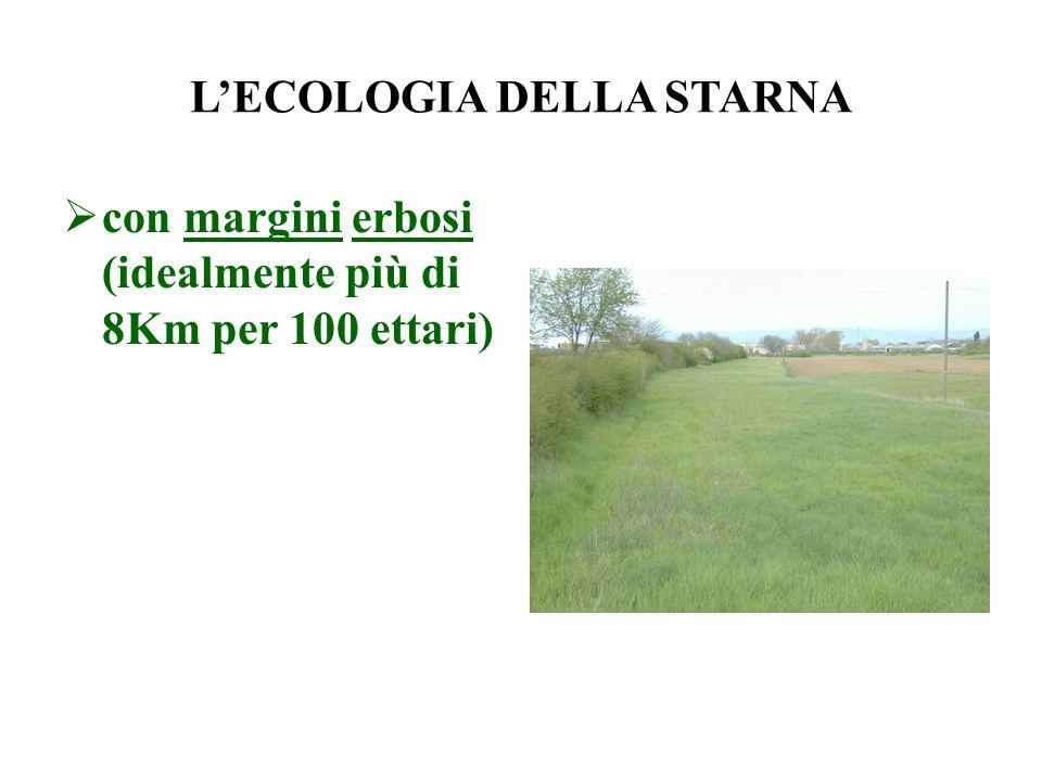 LECOLOGIA DELLA STARNA con margini erbosi (idealmente più di 8Km per 100 ettari)
