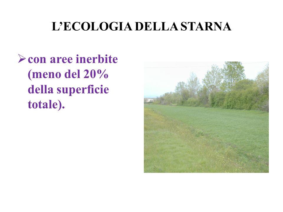 LECOLOGIA DELLA STARNA con aree inerbite (meno del 20% della superficie totale).