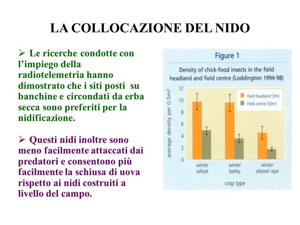 LA COLLOCAZIONE DEL NIDO Le ricerche condotte con limpiego della radiotelemetria hanno dimostrato che i siti posti su banchine e circondati da erba se