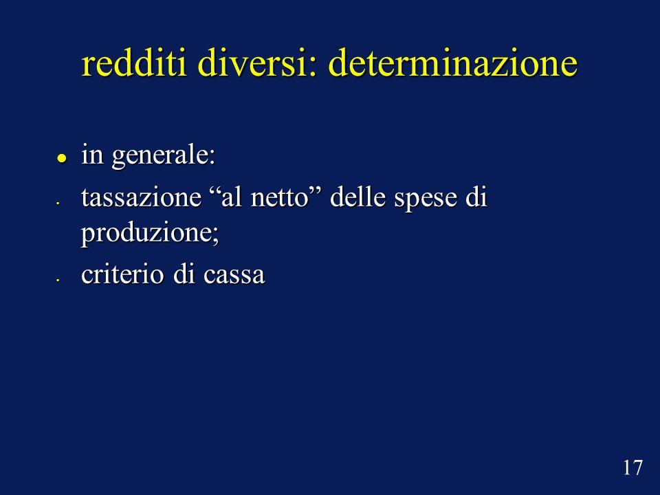 redditi diversi: determinazione in generale: in generale: tassazione al netto delle spese di produzione; tassazione al netto delle spese di produzione