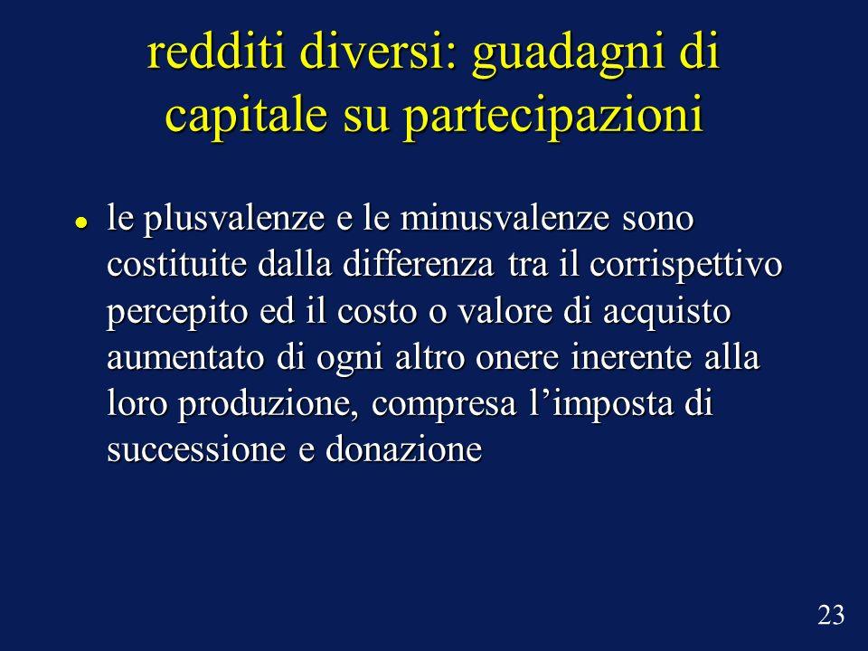 redditi diversi: guadagni di capitale su partecipazioni le plusvalenze e le minusvalenze sono costituite dalla differenza tra il corrispettivo percepi