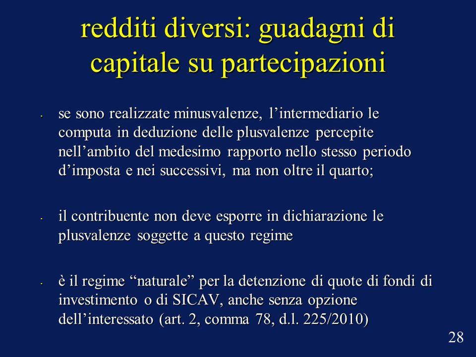 redditi diversi: guadagni di capitale su partecipazioni se sono realizzate minusvalenze, lintermediario le computa in deduzione delle plusvalenze perc