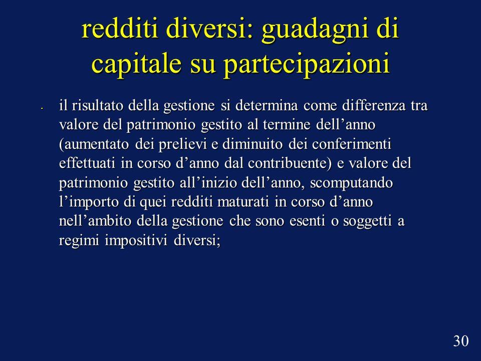 redditi diversi: guadagni di capitale su partecipazioni il risultato della gestione si determina come differenza tra valore del patrimonio gestito al