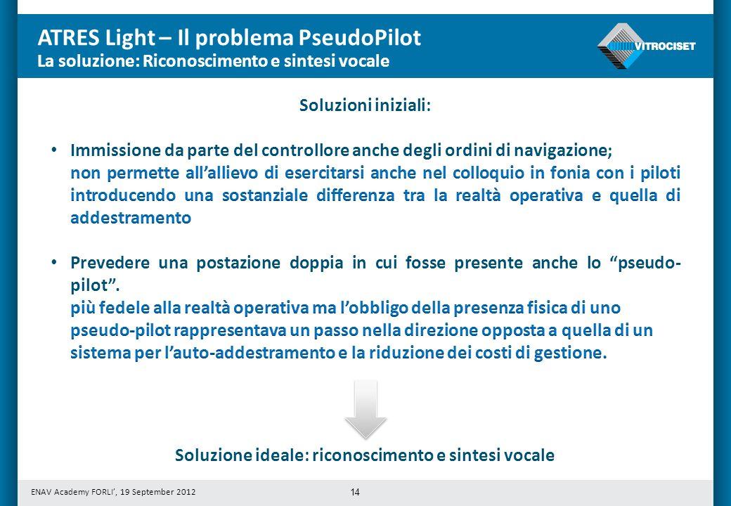ENAV Academy FORLI, 19 September 2012 ATRES Light – Il problema PseudoPilot 14 Soluzione ideale: riconoscimento e sintesi vocale La soluzione: Riconos