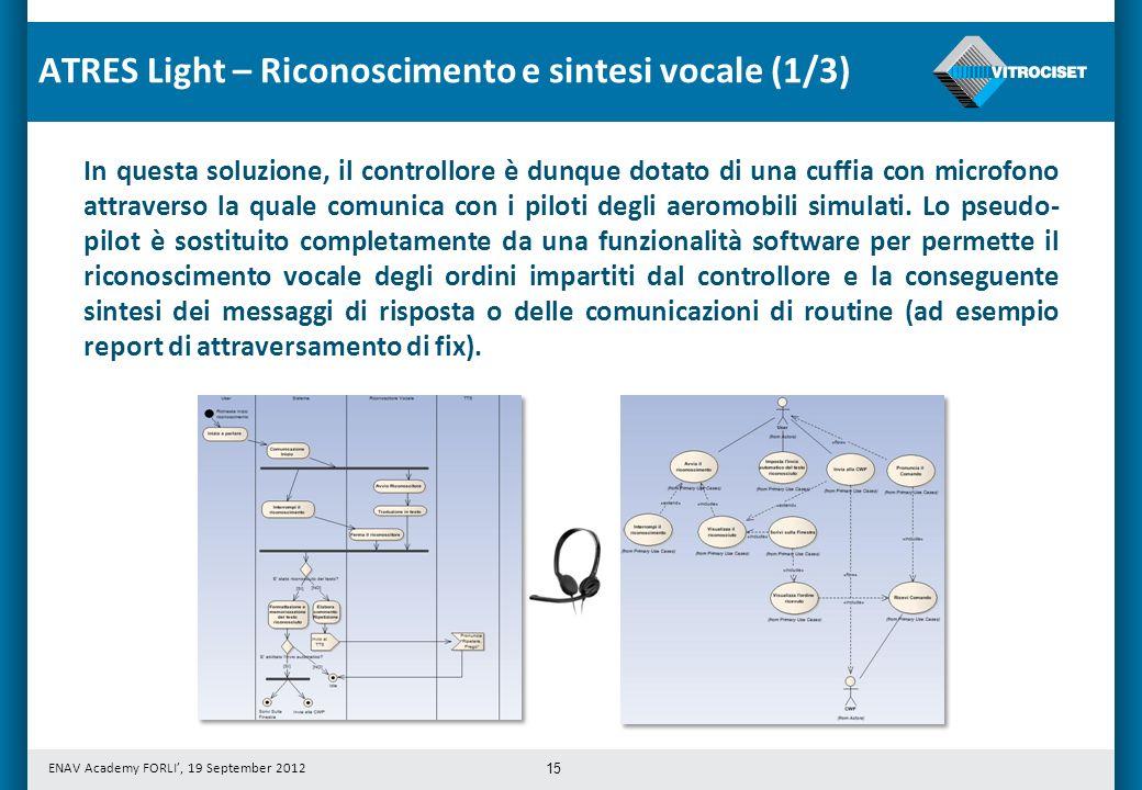 ENAV Academy FORLI, 19 September 2012 15 In questa soluzione, il controllore è dunque dotato di una cuffia con microfono attraverso la quale comunica con i piloti degli aeromobili simulati.