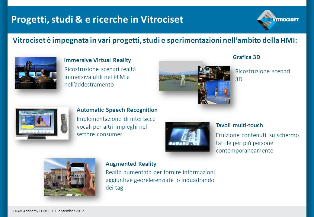 ENAV Academy FORLI, 19 September 2012 Progetti, studi & e ricerche in Vitrociset Vitrociset è impegnata in vari progetti, studi e sperimentazioni nell