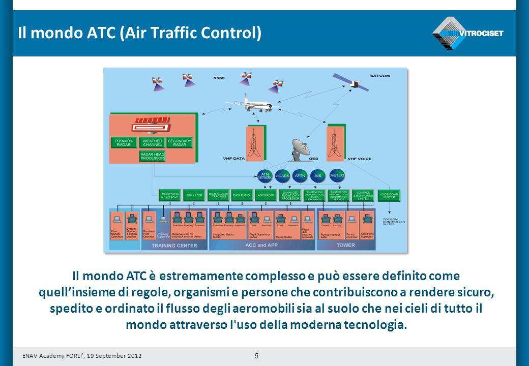 ENAV Academy FORLI, 19 September 2012 5 Il mondo ATC è estremamente complesso e può essere definito come quellinsieme di regole, organismi e persone c