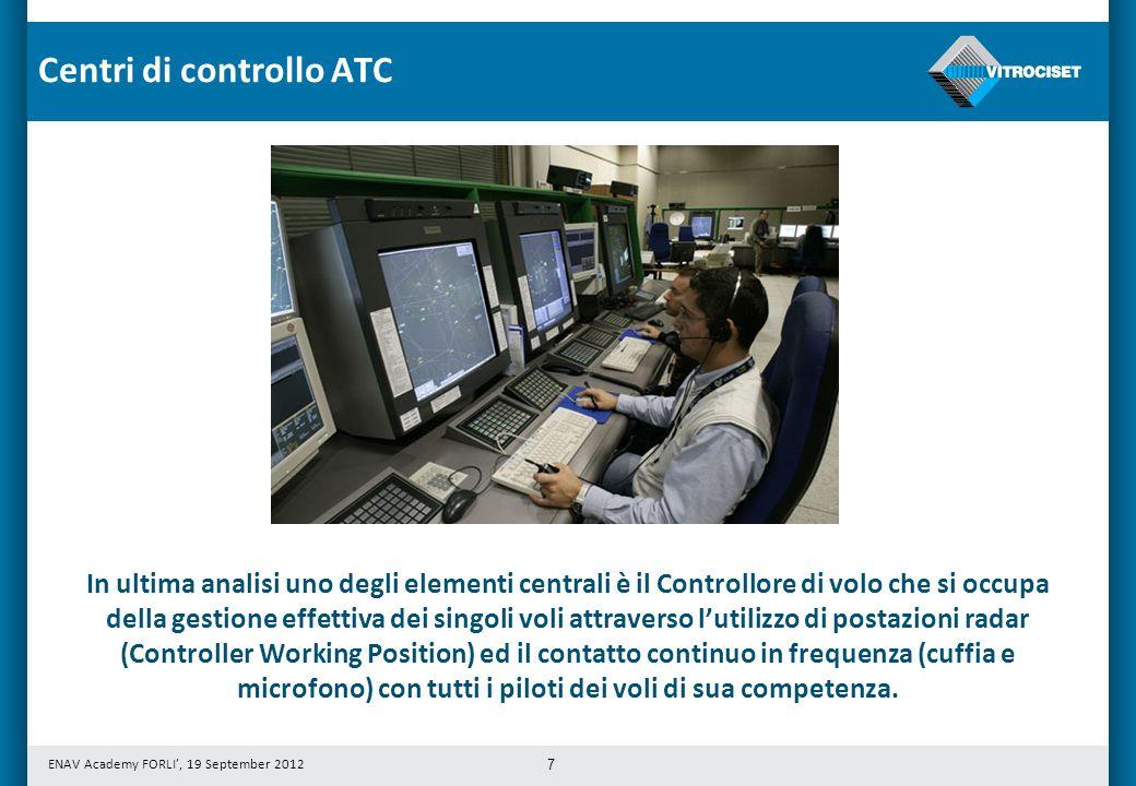 ENAV Academy FORLI, 19 September 2012 7 In ultima analisi uno degli elementi centrali è il Controllore di volo che si occupa della gestione effettiva