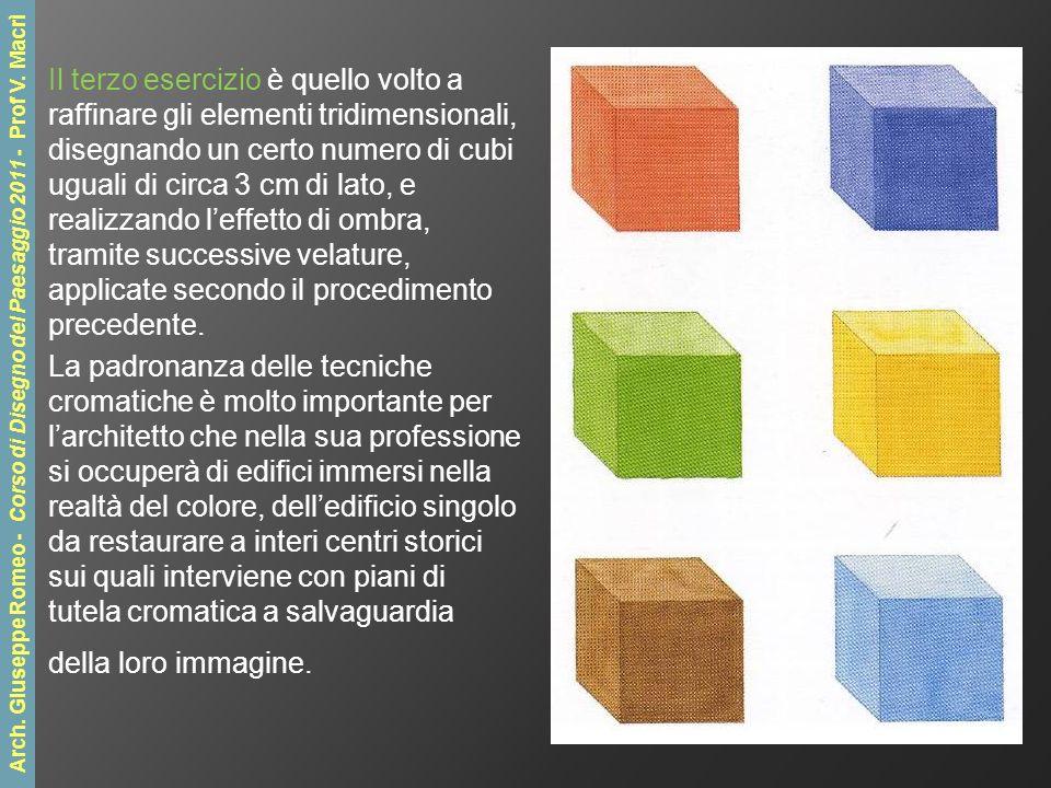 Il terzo esercizio è quello volto a raffinare gli elementi tridimensionali, disegnando un certo numero di cubi uguali di circa 3 cm di lato, e realizzando leffetto di ombra, tramite successive velature, applicate secondo il procedimento precedente.