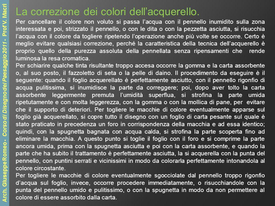 La correzione dei colori dellacquerello.