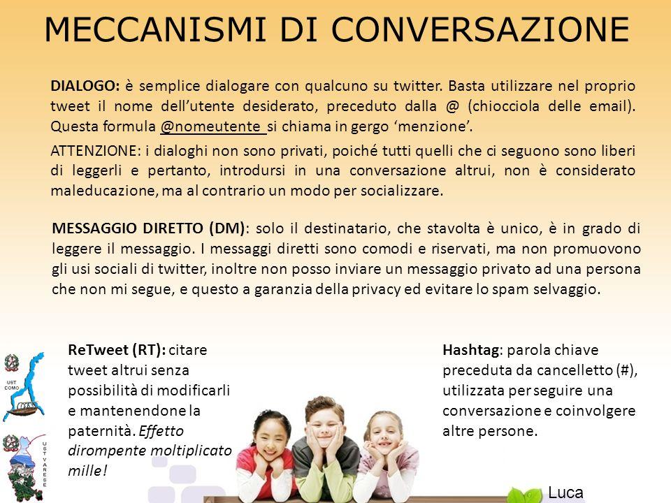MECCANISMI DI CONVERSAZIONE DIALOGO: è semplice dialogare con qualcuno su twitter.