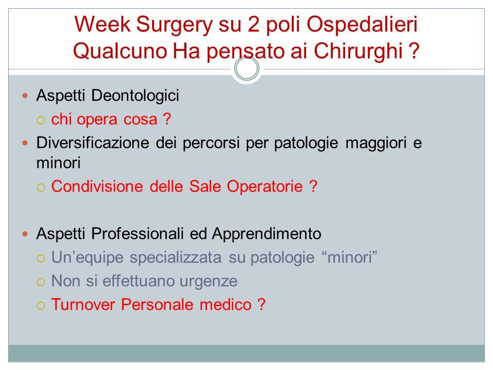 Week Surgery su 2 poli Ospedalieri Qualcuno Ha pensato ai Chirurghi ? Aspetti Deontologici chi opera cosa ? Diversificazione dei percorsi per patologi