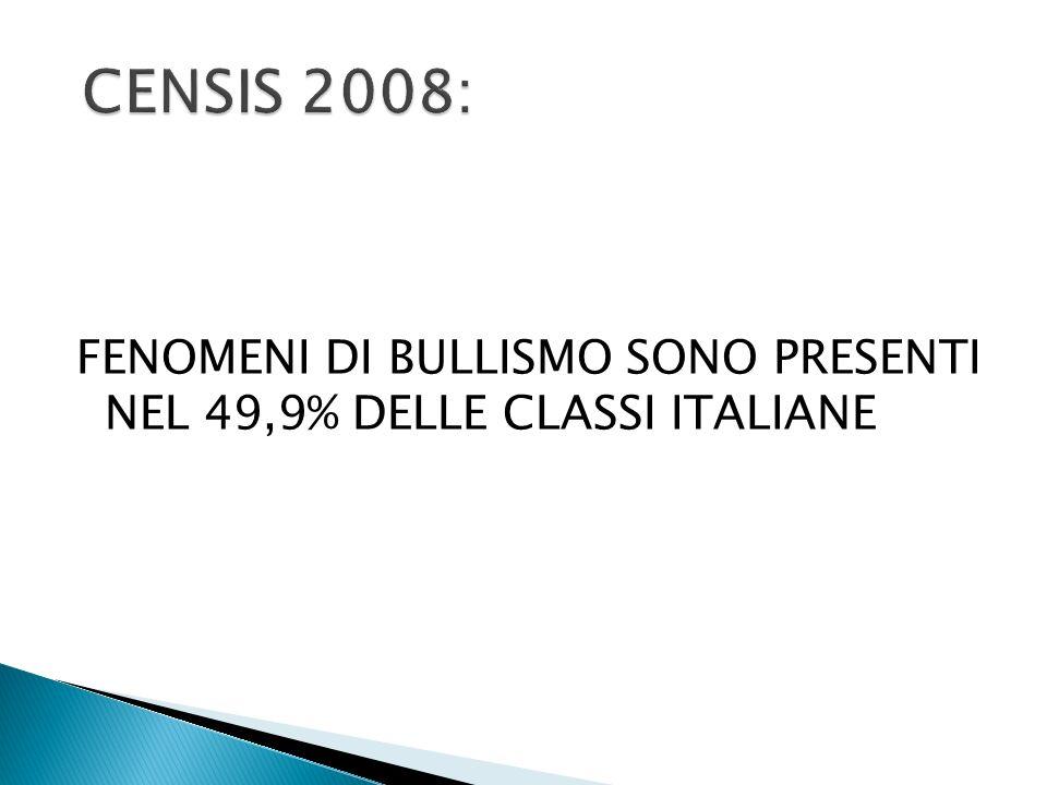 FENOMENI DI BULLISMO SONO PRESENTI NEL 49,9% DELLE CLASSI ITALIANE