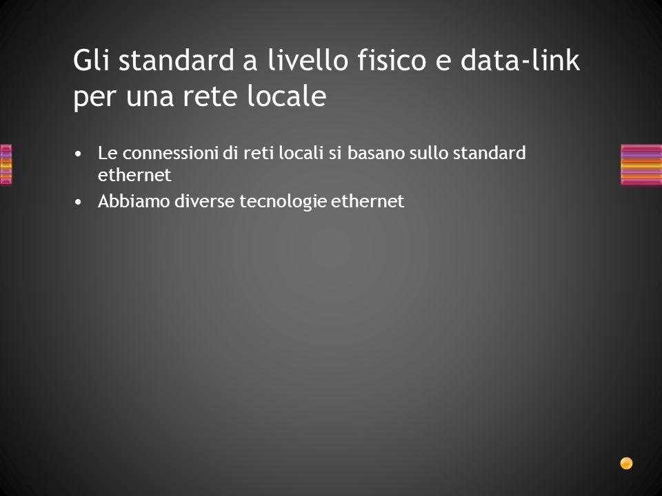 Gli standard a livello fisico e data-link per una rete locale Le connessioni di reti locali si basano sullo standard ethernet Abbiamo diverse tecnologie ethernet