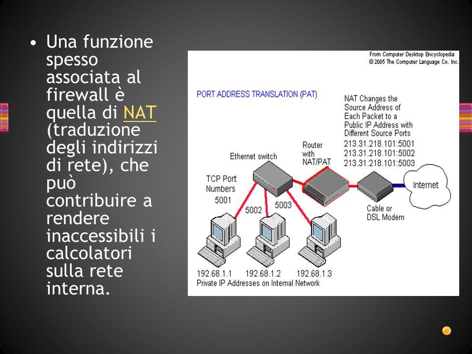 Una funzione spesso associata al firewall è quella di NAT (traduzione degli indirizzi di rete), che può contribuire a rendere inaccessibili i calcolatori sulla rete interna.NAT