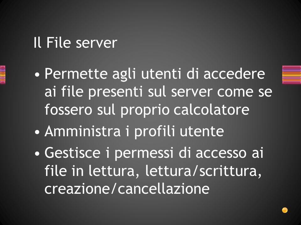 Permette agli utenti di accedere ai file presenti sul server come se fossero sul proprio calcolatore Amministra i profili utente Gestisce i permessi di accesso ai file in lettura, lettura/scrittura, creazione/cancellazione Il File server