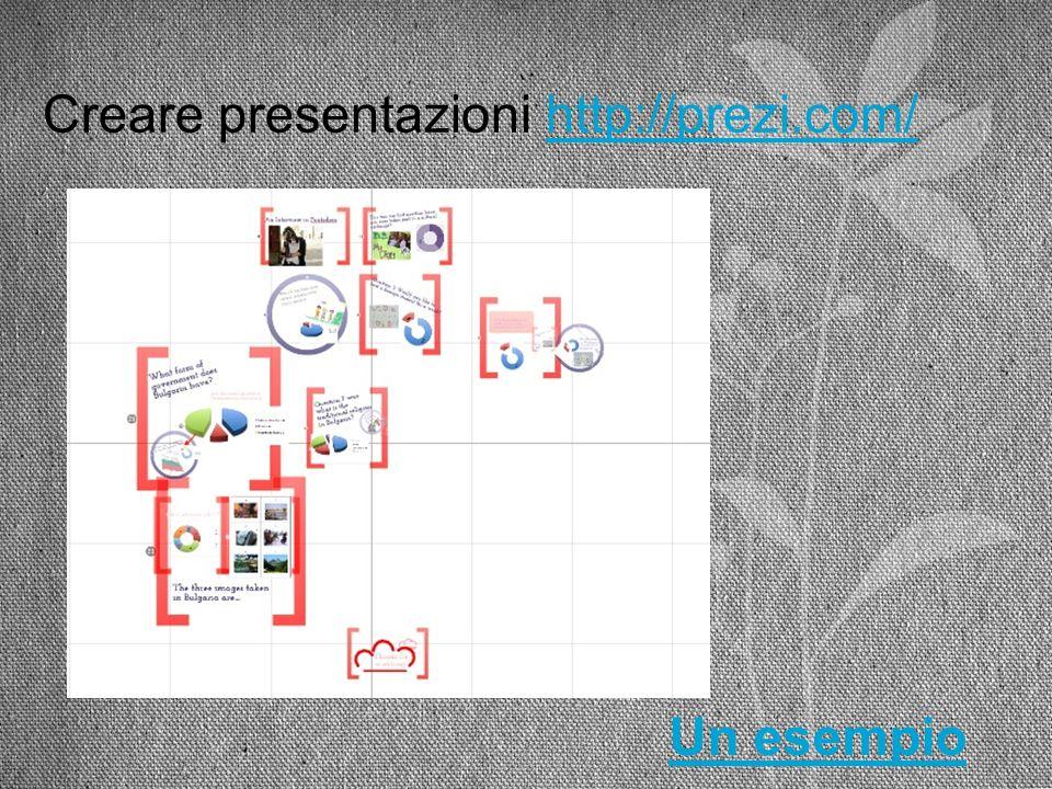 Creare presentazioni http://prezi.com/http://prezi.com/ Un esempio