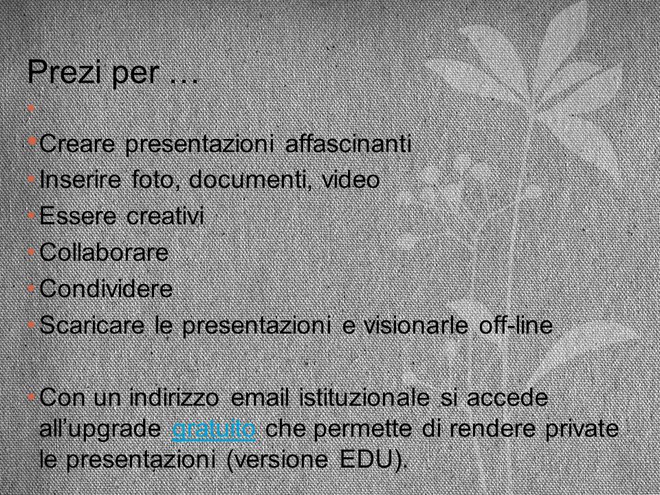 Prezi per … Creare presentazioni affascinanti Inserire foto, documenti, video Essere creativi Collaborare Condividere Scaricare le presentazioni e vis