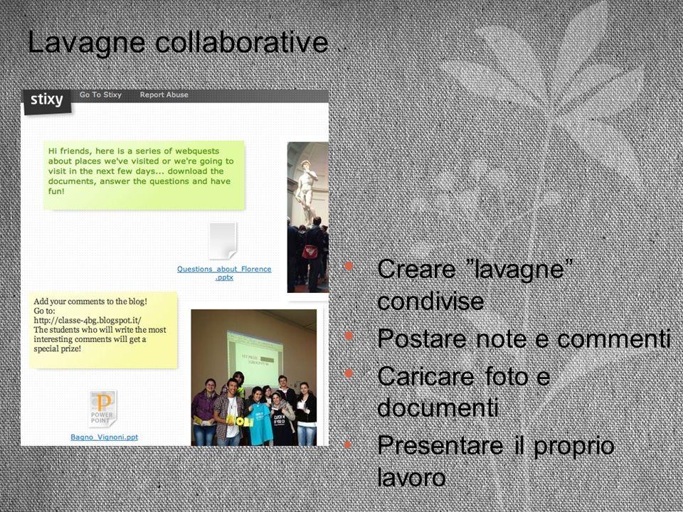 Lavagne collaborative Creare lavagne condivise Postare note e commenti Caricare foto e documenti Presentare il proprio lavoro