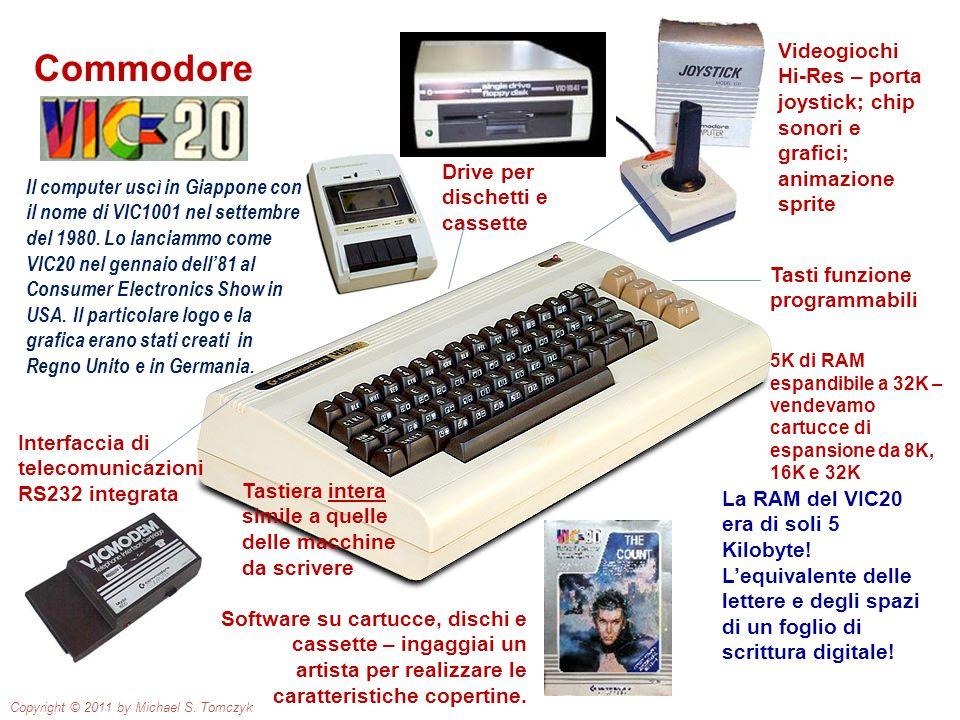Commodore Tasti funzione programmabili Tastiera intera simile a quelle delle macchine da scrivere Interfaccia di telecomunicazioni RS232 integrata Vid