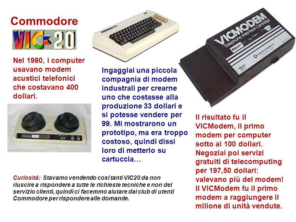 Commodore Il risultato fu il VICModem, il primo modem per computer sotto ai 100 dollari. Negoziai poi servizi gratuiti di telecomputing per 197,50 dol