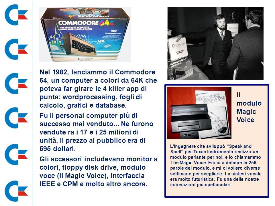 Nel 1982, lanciammo il Commodore 64, un computer a colori da 64K che poteva far girare le 4 killer app di punta: wordprocessing, fogli di calcolo, gra