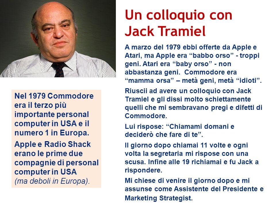 Un colloquio con Jack Tramiel Nel 1979 Commodore era il terzo più importante personal computer in USA e il numero 1 in Europa. Apple e Radio Shack era