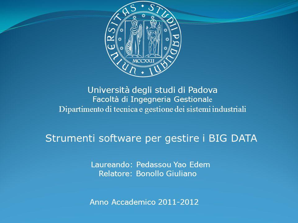 Università degli studi di Padova Facoltà di Ingegneria Gestiona le Dipartimento di tecnica e gestione dei sistemi industriali Strumenti software per g