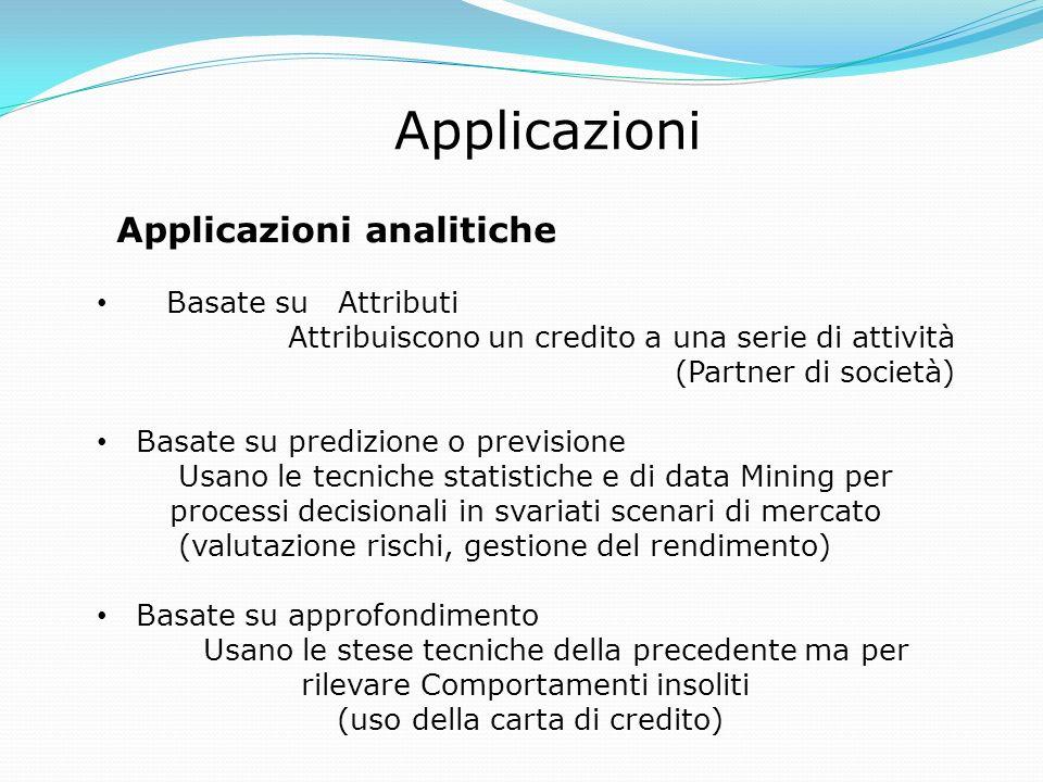 Applicazioni Applicazioni analitiche Basate su Attributi Attribuiscono un credito a una serie di attività (Partner di società) Basate su predizione o